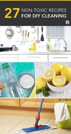 "While it might be tempting to spray your whole place with bleach (that makes things ""clean,"" right?), a lot of common household cleaning products are actually pretty toxic to our health. ~ #6. Countertops: For a simple, all-purpose counter cleaner, mix together equal parts vinegar and water in a spray bottle."
