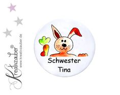 Buttons - Kinderbutton ★ Schwesternbutton ★ Button mit Namen - ein Designerstück von Kreativzauber bei DaWanda