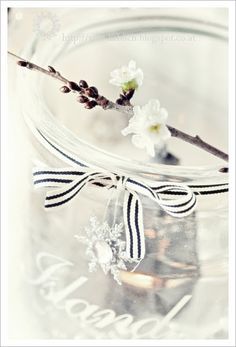 We love this striped grosgrain ribbon. Tie it around vases and use it to hang wreaths.