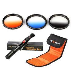 K&F Concept 3 teiliges 77mm Slim Objektiv Verlaufsfilter Farbfilter Set Orange Blau Grau Filterset Graufilter Kamera Zubehör für Canon 6D 5D Mark II 5D Mark III Nikon D610 D700 D800 DSLR Kamera + Reinigungspinsel für Objektive + Filtertasche - http://kameras-kaufen.de/k-f-concept/k-f-concept-3-teiliges-77mm-slim-objektiv-set-blau