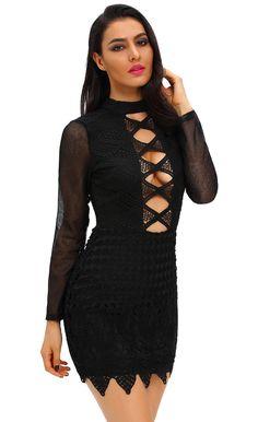 $34.99 Long Sleeved Keyhole Back Lace Dress