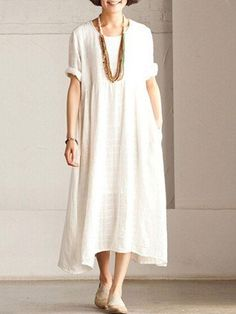 White casual linen sundress short Sleeve maxi dress summerThis dress is made of cotton linen fabric, soft and breathy, suitable for summer, so loose dresses to make you comfortable all the time. Long Summer Dresses, Trendy Dresses, Modest Dresses, Elegant Dresses, Casual Dresses, Short Dresses, Dress Summer, Dress Long, Loose Dresses