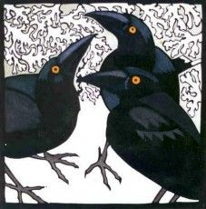 Kit Hiller - linocut I like the crows but the stark white negative space,not so much. Crow Art, Raven Art, Bird Art, Vogel Illustration, Jackdaw, Crows Ravens, Paperclay, Woodblock Print, Thor