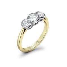 Three Stone Diamond Engagment Ring  $9,200  Description      Three Stone Diamond Engagement Ring with three brilliant cut diamonds, set in 18ct yellow gold