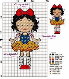 Snow White little Disney Stitch, Tiny Cross Stitch, Cross Stitch Charts, Disney Cross Stitch Patterns, Cross Stitch Designs, Diy Recycling, Stitch Cartoon, Disney Crafts, Canvas Patterns