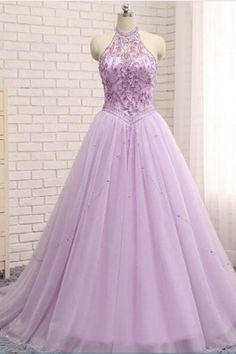 Charming Lilac A Line Prom Dresses Tulle Beaded Evening Gowns With Chapel Train