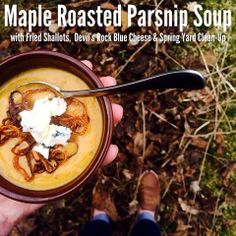 Warm up on a cold winter's night to maple roasted parsnip soup with fried shallots and Devil's Rock Blue cheese. Roasted Parsnips, Fried Shallots, Canadian Cheese, How To Make Cheese, Blue Cheese, Simple Pleasures, Cheese Recipes, Dishes