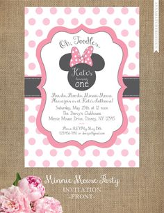 Minnie Mouse Invitations - Add Ons: Stickers & Thank You Cards - DIY Printable or Printed Invitations with FREE SHIPPING