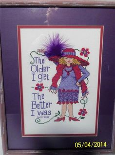 """Red Hat Society Cross Stitch Finished ..Framed, Matted and Glass  16 1/2 """" x 13"""""""