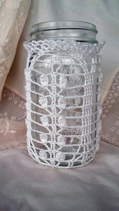 (4) Name: 'Crocheting : Lily of the Valley Mason Jar Cozy