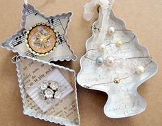 I recently received my vintage cookie cutter ornaments back from Stampington (these pieces are published in the current issue of Somerset Holidays and Celebrations). Now that I have them back, I thought I'd pass them on again...this time to one of you as a gift (one person will win all three