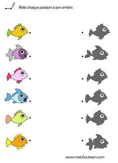 plusieurs fiches avec des poissons à imprimer