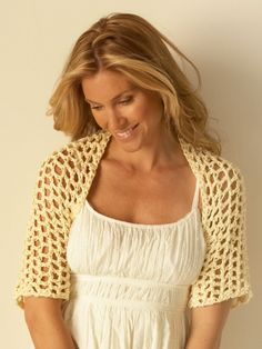 Free Pattern - Light and lacy crochet shrug is the perfect warm weather accent piece. #crochet #shrug