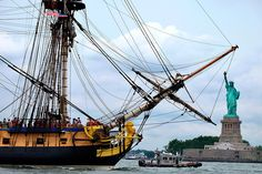 This July 4, 2015 file photo shows a replica of the Hermione, the 18th century ship that brought French General Lafayette to America, as it sails the waters off New York.