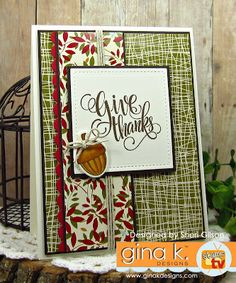 Painted Autumn StampTV kit from Gina K. Card by Sheri Gilson… Thanksgiving Greeting Cards, Fall Cards, Holiday Cards, Christmas Cards, Stamp Tv, Thanks Card, Do It Yourself Crafts, Halloween Cards, Fall Halloween
