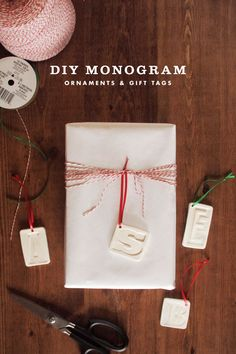 DIY clay monogram ornaments and gift tags.