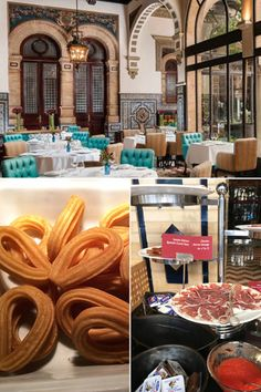Breakfast at the Alfonso XIII, a Luxury Collection Hotel, Seville, Spain, is served in a beautiful room and featured some favourite items (churros - yum!!)