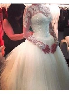 2014 Ball Gown Wedding Dresses High Neck Top Lace Appliques Beads Crystal Tulle Court Train Long Sleeves Bridal Gowns