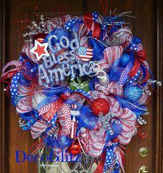 Patriotic GOD BLESS AMERICA Wreath by decoglitz on Etsy