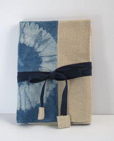 Indigo Hand Dyed/shibori Wrapping Case, makeup case, pen case, shibori bag by Little m Blue