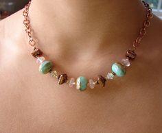 Aqua Glass and Copper Chain Necklace. $40.00, via Etsy.