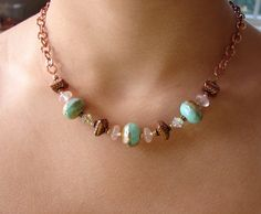 Aqua Glass and Copper Chain Necklace. $40.00, via Etsy.