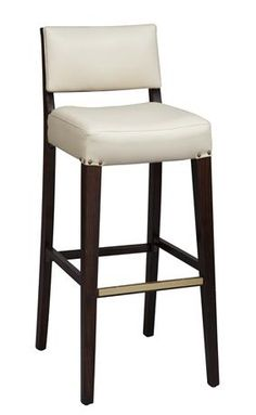Beechwood Solid Back Stool - Fully Upholstered Seat and Inside Back