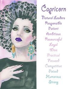 Capricorn, Zodiac sign, Print, Illustration, Watercolor, Girl