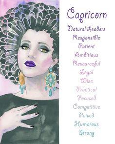 Capricorn, Zodiac sign, Print, Illustration, Watercolor, Girl