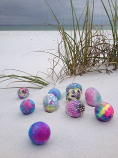 Photo of Easter eggs on the beach.