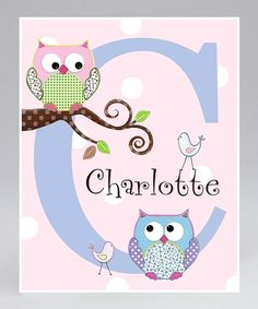 Owls on a Branch Personalized Print