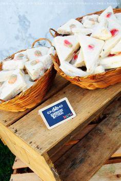 Fruit garden themed birthday party via Karas Party Ideas! cling wrapped sandwiches