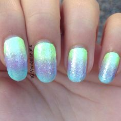 """""""A shimmering pastel gradient for today✨ (because I won't accept it's fall soon) I absolutely love this shimmering polish I used on top called 'Make…"""""""