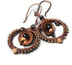Beaded Copper Earrings Wire Wrapped Circles #copper earrings #wire wrapped earrings #beaded hoop earrings