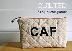DIY Pouch DIY Q is for Quilted Drop Cloth Pouch DIY Pouch