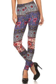 Elegant4U Junior's Printed Pastel Paisley Pattern Fashion Leggings