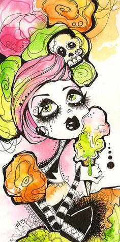 Rainbow Sherbet original watercolor illustration by KreepshowArt, $26.00