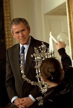 President George W. Bush at the White House Menorah Lighting Ceremony, December 10, 2001