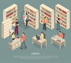 Buy Documents Library Archive Interior Isometric by macrovector on GraphicRiver. Scientific library published materials shelves with ladder and online documents and catalogs access computers isometr. Library Architecture, Architecture Collage, Architecture Visualization, Science Illustration, People Illustration, Illustrations, Library Icon, Library Design, Library Ladder