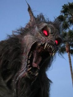 Who's a good doggie? YOU are. YES  Werewolf Lycan 12 Foot Tall Haunted House Static Prop
