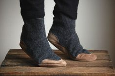 Upcycled Clothing, Slipper Socks, Wool & Leather, women sizes 6.5, 9.5, Lamb to School
