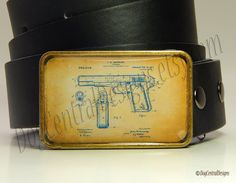 Belt Buckle Vintage Gun Patent Womens Mens Belt Buckles Gifts for Him Birthday Gift Fathers Days Gift by DogCentralDesigns on Etsy