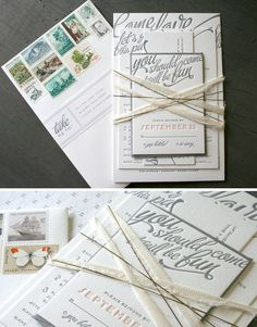 I LOVE me some #Letterpress and awesome stamp mixture.  Really unique address labels too.  Gray is rockin...everything about this works!