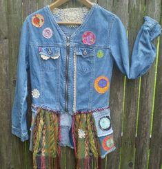 PLayCloz embellished Boho jean jacket- S-M embroidered jean jacket- denim and embellishment gypsy jacket