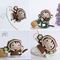 Ravelry: Monkey Tanoshi series pattern by Tatyana Korobkova Funny Toys, Cute Toys, Amigurumi Toys, Amigurumi Patterns, Knitted Dolls, Crochet Dolls, Crochet Monkey, Crochet Christmas Trees, Easy Knitting Patterns