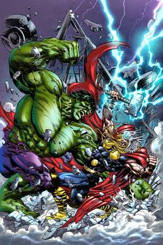 #Hulk #Fan #Art. (THOR VS HULK Drawn) By: Mike Deodato, (Color) By: AngeloCarvalho. ÅWESOMENESS!!!™ ÅÅÅ+