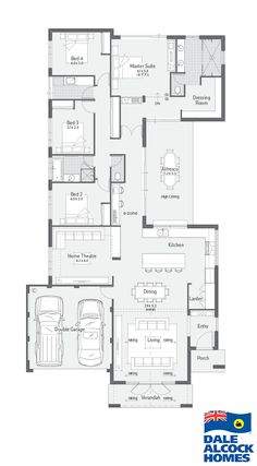 Choose your dream home design now with Dale Alcock. Living Room Floor Plans, Modern House Floor Plans, Narrow Lot House Plans, Home Design Floor Plans, Narrow House, Family House Plans, Bedroom House Plans, New House Plans, Dream House Plans