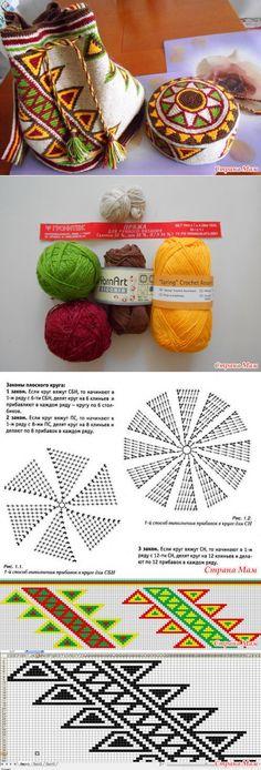 ирландия - Tapestry crochet - Cap a la mochila! Discussione sulla LiveInternet – Servizio russo diari on - Crochet Handbags, Crochet Purses, Mochila Crochet, Tapestry Crochet Patterns, Knitting Patterns, Crochet Shell Stitch, Tapestry Bag, Knitted Bags, Diy Crochet
