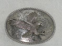 American Bald Eagle Western Belt Buckle Oval Silver Tone Rope Scroll Vintage