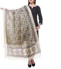 #Beige & #Black Printed #Bhagalpuri #Silk #Dupatta  at #Indianroots #Diwali #Sale Was $10 | Is $7 Diwali Sale, Silk Dupatta, Anarkali Suits, Black Print, Lace Skirt, Menswear, Saree, Beige, Indian